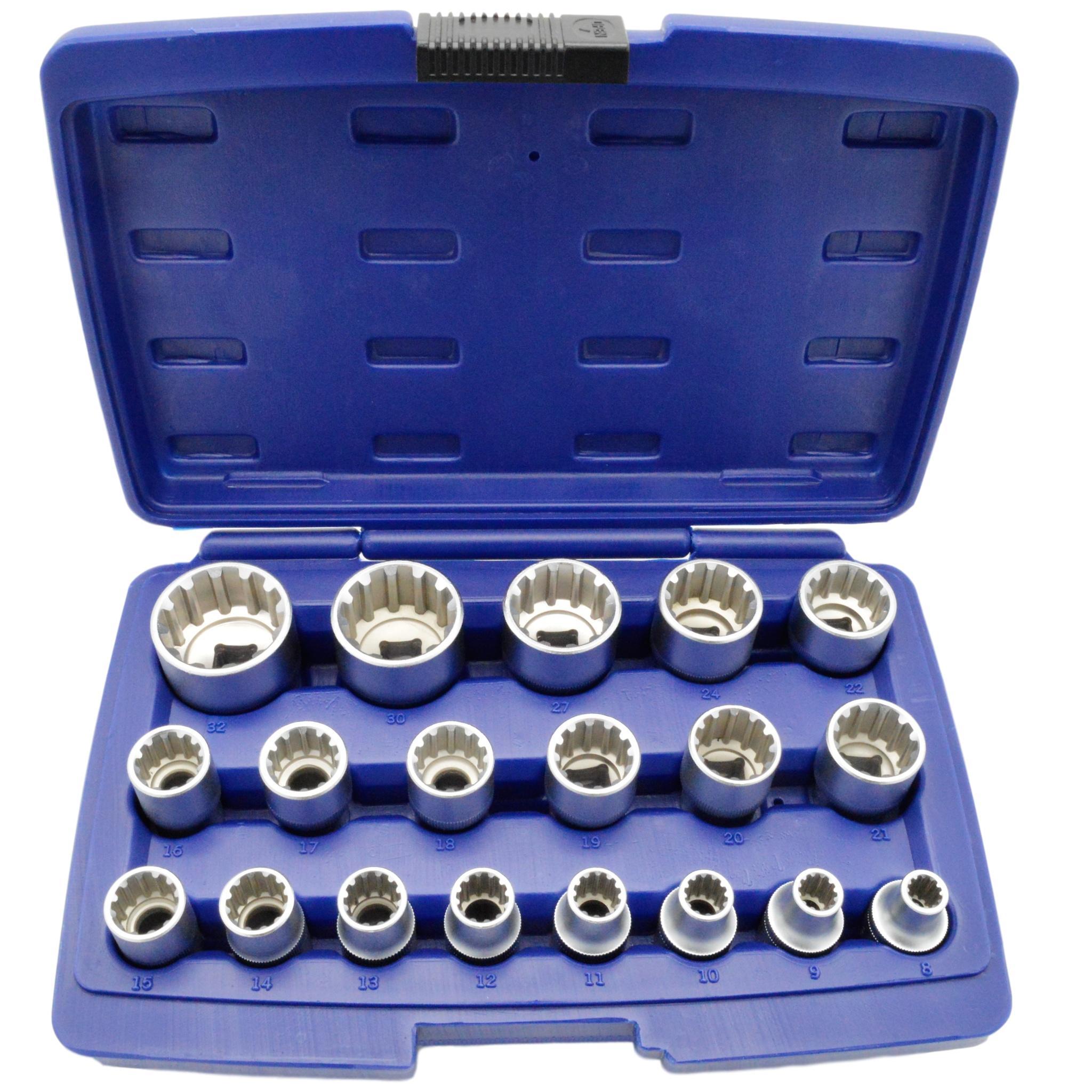 Steckschlüssel Satz 1//2 Zoll 8-32 mm Vielzahn Nüsse Torx Nüße Stecknüsse 19 tlg